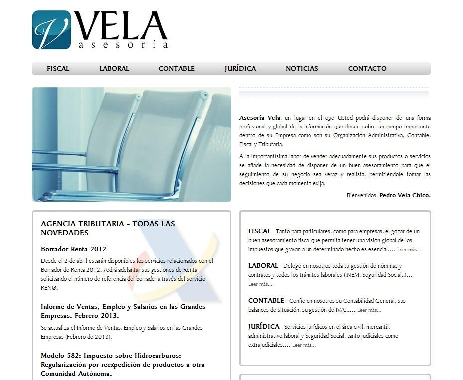 Desarrollo de la web corporativa de la Asesoría Vela